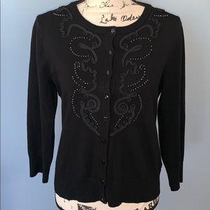 CAROLE LITTLE black embellished cardigan Med